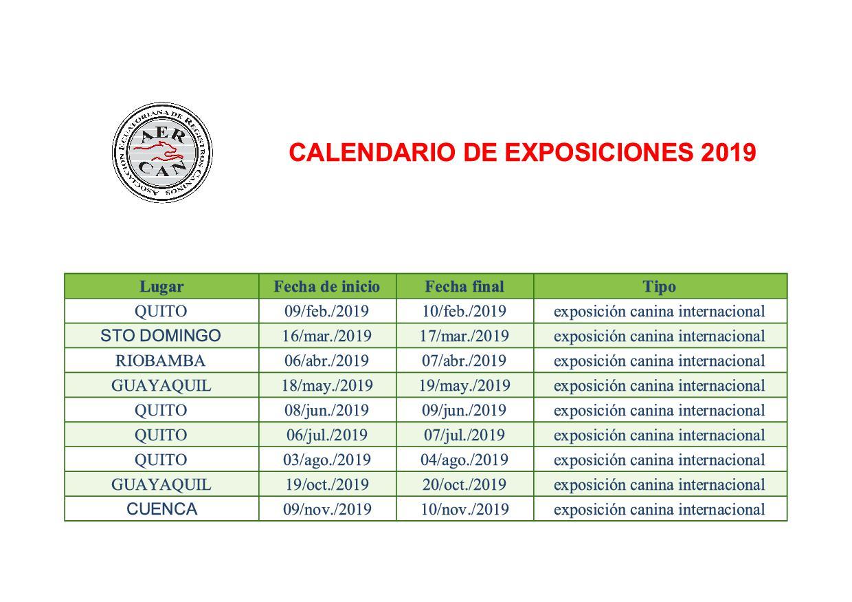 CALENDARIO DE EXPOSICIONES 2019